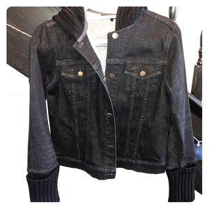 Theory dark denim and knit hooded jacket